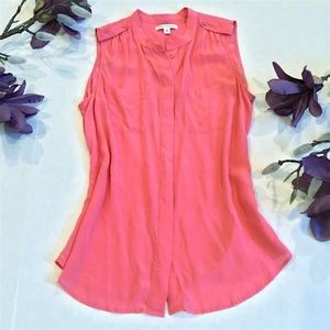 Banana Republic Silk Pink Button Up Sleeveless Top
